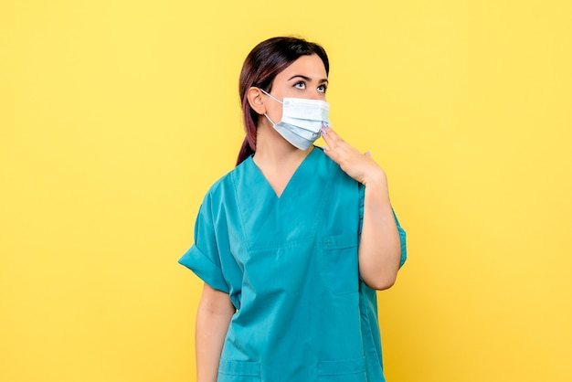 마스크에있는 의사의 측면보기는 의료 마스크에 대해 생각하고 있습니다.