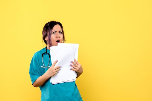 Вид сбоку врача удивляет анализы больных ковидом