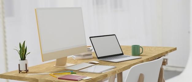 Вид сбоку на современный компьютерный стол с желтым компьютерным ноутбуком, стилусом, планшетом, макет пустого экрана