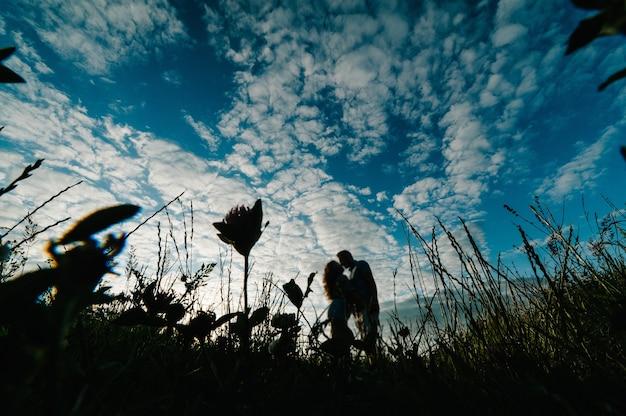 野原の芝生の上を歩いているロマンチックな男性と女性の側面図、素晴らしい夕日を楽しむ自然。手をつないで素敵な家族の概念。若いカップルが立ってキスします。
