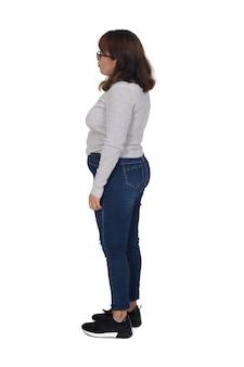 白い背景の上の女性の側面図の側面図