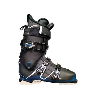 검은색 스키 부츠의 측면 보기입니다. 흰색 배경에 고립 된 스포츠 장비