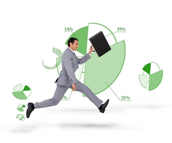 Side view of businessman running against a background