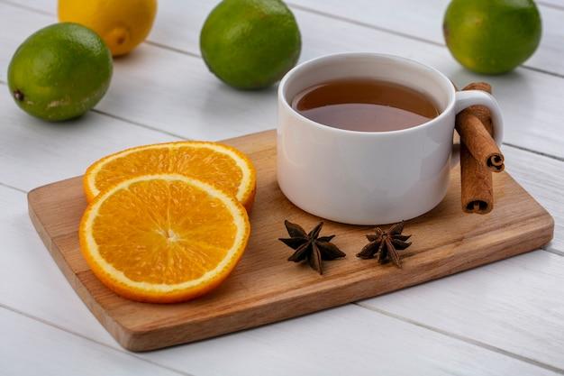 白い表面にライムとボード上のオレンジのシナモンスライスとお茶のカップの側面図