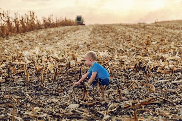 トウモロコシ畑にしゃがみ、遊んでいるかわいい小さな農家の少年の側面図