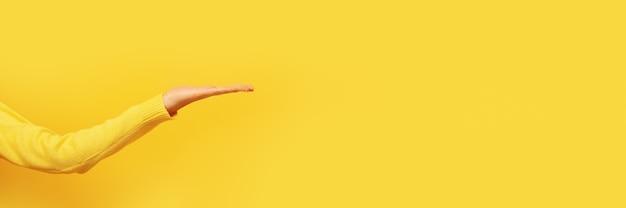 Вид сбоку пустой открытой ладони, жест женской руки над желтым