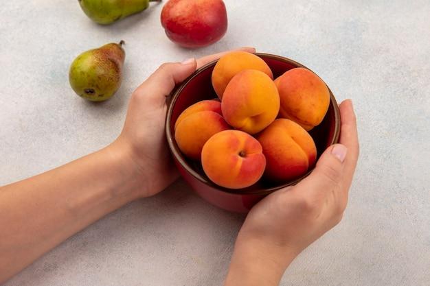 白い背景の上の桃と梨とアプリコットのボウルを保持している女性の手の側面図