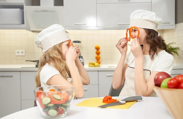Взгляд со стороны смешной матери и дочери в готовить шляпы