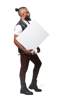 Side view of guy carrying an empty signboard