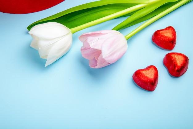 青いテーブルの上のピンクと白の色のチューリップと赤い箔でハート型のチョコレート菓子の側面図