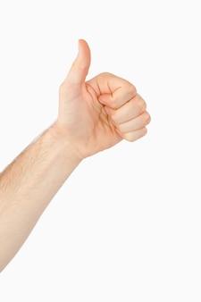 Боковой вид левой руки, дающий большой палец вверх