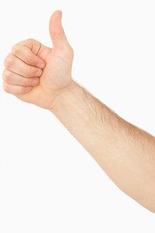 Боковой вид мужского пальца вверх