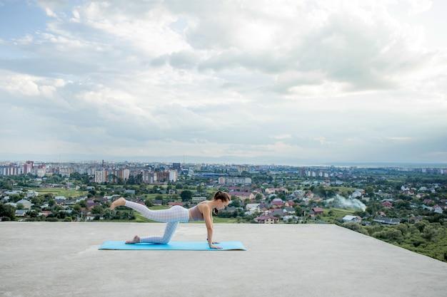 Вид сбоку мышечной молодой женщины с длинным хвостом в солнечное утро.