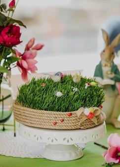 Вид сбоку на новруз национальный азербайджанский праздник весна праздник концепция пшеница трава семени на керамической подставке на зеленой стене