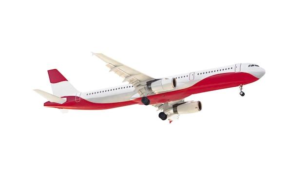 Вид сбоку пассажирского самолета воздушного транспорта, изолированные на белом фоне