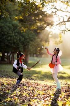 공원에서 의상을 입고 장난 형제의 모습