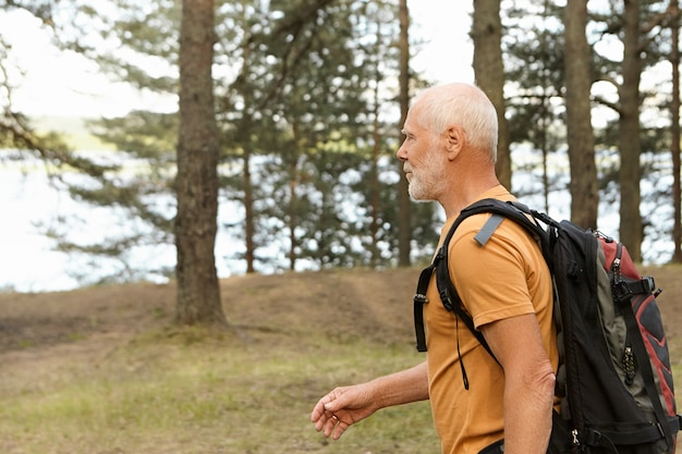 소나무 숲에서 혼자 하이킹하는 동안 배낭을 들고 자기 결정된 활동적인 대머리 남성 연금의 측면보기. 숲에서 여행 경로를 따라 배낭 트레킹 수염 백인 은퇴 한 남자