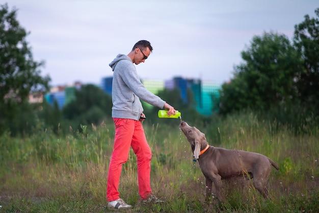 ワイマラナー犬に飲み物を与えるボトルから水を注ぐサングラスで笑顔の男性の側面図