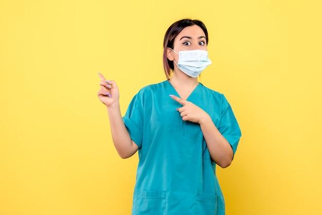 マスクをした医師の側面図は側面を指しています