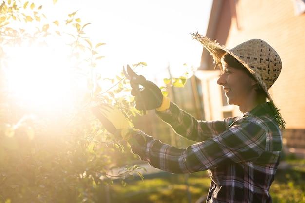 若い女性の庭師の側面図は、木から不要な枝や葉を切り取ります