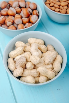 Side view of peanut in shell in a bowl and hazelnuts in a bowl on blue background
