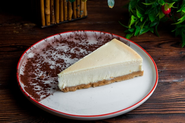 Side view piece of classic cheesecake