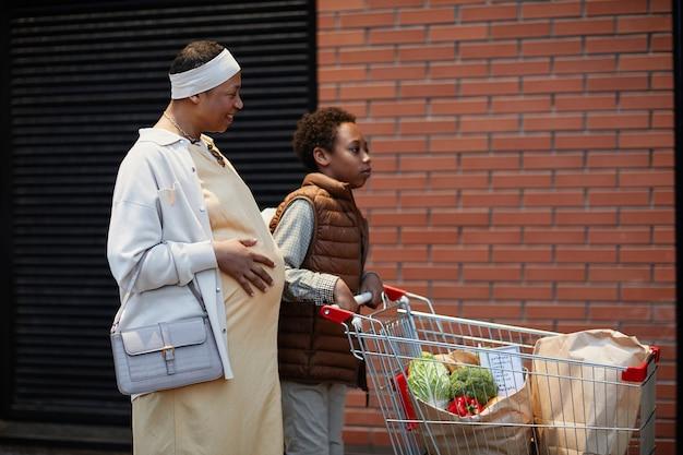 Портрет вид сбоку афроамериканских матери и сына, толкающих тележку с едой и продуктами на открытом воздухе, копией пространства