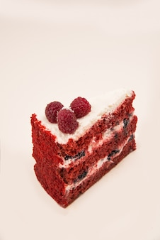 Side view of red pie with berries
