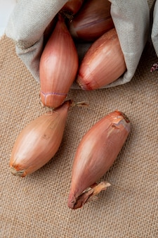 Side view of shallots spilling out sack on sackcloth background