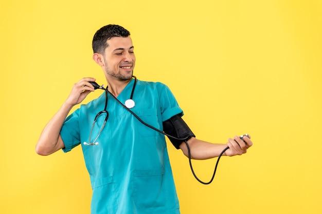 Side view specialist joyful doctor measures the pressure