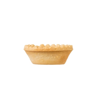 Side view of the tartlet isolated on a white surface. baked goods for snacks.