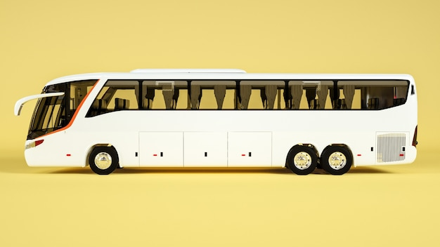 Side view of the transit bus for display mockup. rendering Premium Photo