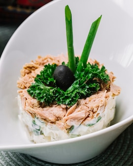 Side view tuna salad with cucumber mayo spring onion and olive