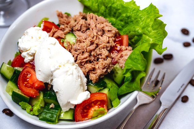 Side view tuna salad with tomato lettuce cucumber and sour cream on a plate