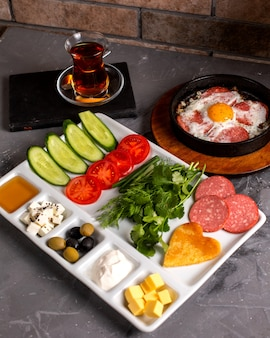 Side view of turkish breakfast set with mixed combination of food