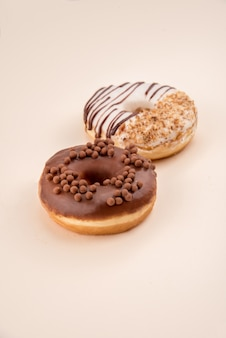 Side view of two donuts isolated