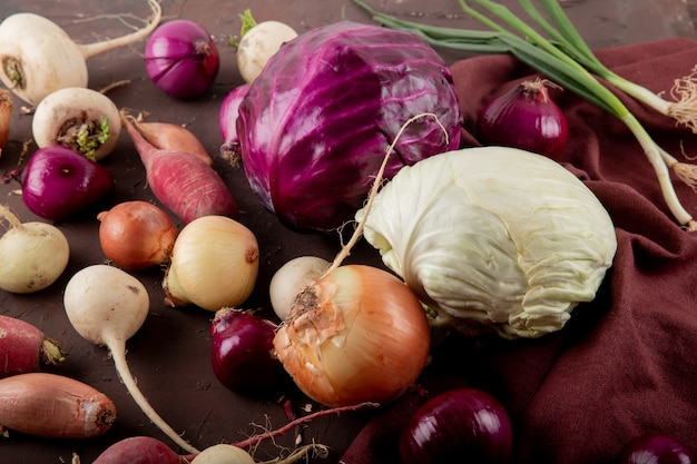 Side view of vegetables as cabbage onion radish scallion on maroon background