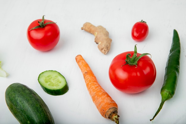 Side view of vegetables on white