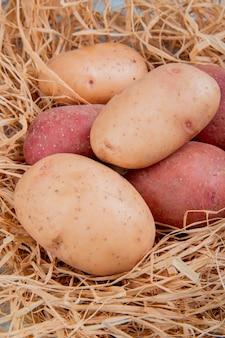 Vista laterale delle patate bianche e rosse in nido