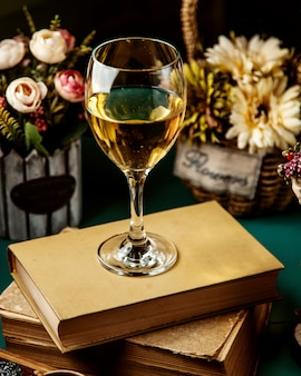 Side view of white wine in glass on book