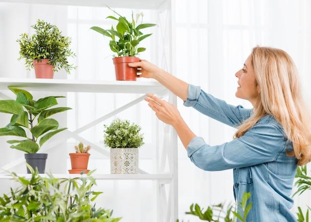 Side view woman arranging flowers pot