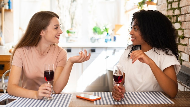 Side view of women conversing over glass of wine