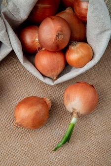 Side view of yellow onions spilling out of sack on sackcloth background