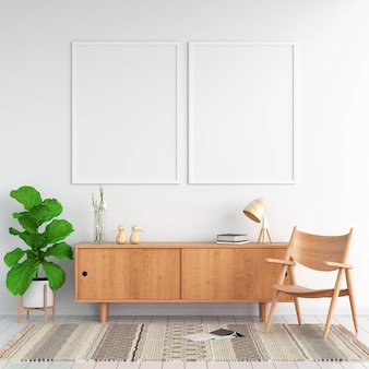 Sideboard and two blank photo frame for mockup