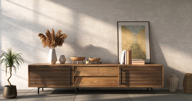 Sideboard with decor on white wall background living room mockup 3d render