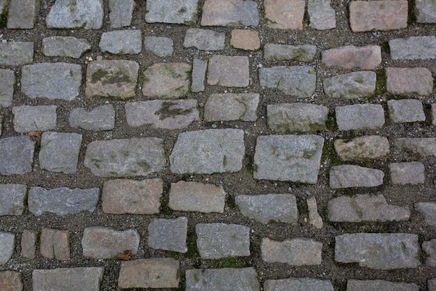 プラハの歴史的中心部での雨の後の石の歩道。クローズアップショット