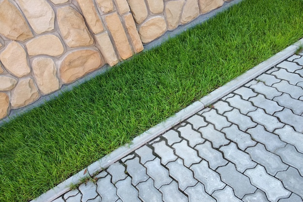 Sidewalk paved with cement bricks and lawn with green grass