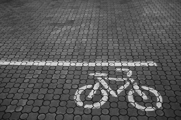 Sidewalk with a painted bicycle