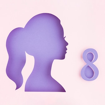 Боковой женский бумажный рисунок женский день концепция