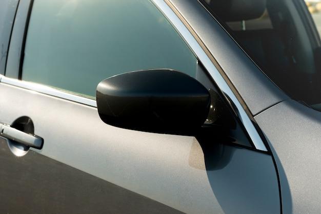 Sideways rear-view mirror of a modern car